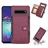 JIANGNIUS Phone Shell for Galaxy S10 5G Brushed Texture Shockproof PU + TPU Case, with Card Slots & Wallet & Photo Frame(Black) (Color : Wine Red)