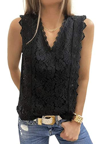 AlvaQ Tank Tops for Women Summer Casual Loose Sleeveless V Neck Lace Blouses Camis Black Medium