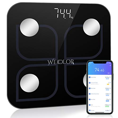 Wecolor Bluetooth Weighing Scale Smart Body Fat Scale Bathroom Weight BMI Scale Body Composition Fitness Analysis Digital Scale with Smartphone APP