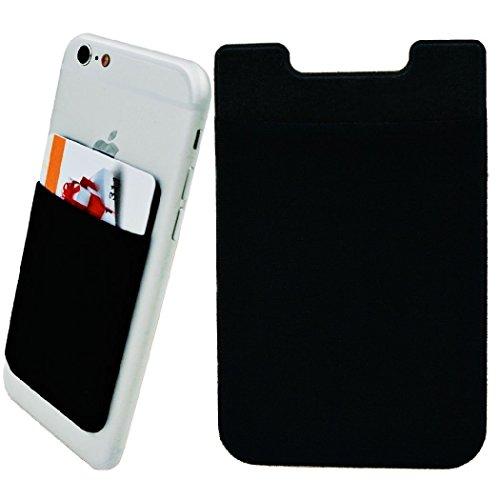 ZhaoCo Porta Tarjetas Móvil, 2 Piezas Lycra Bolsillo Adhesivo Tarjeta Credito con Cinta de 3M Stick-on Teléfono Móvil Celulares - Negro