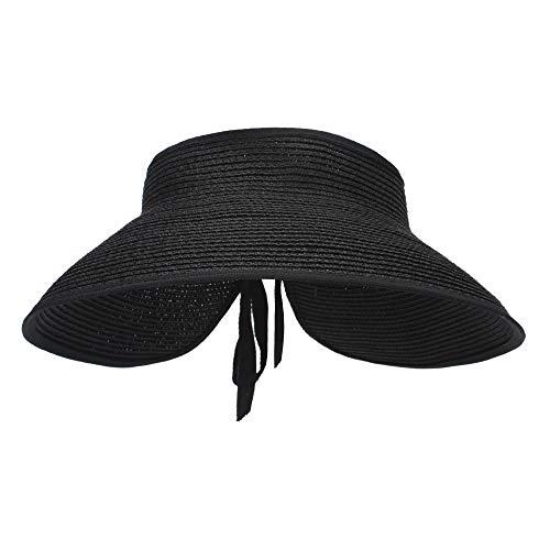 MK MATT KEELY Große Strand-Sonnenhüte für Damen, faltbar, breite Krempe, Hut für Damen, Schirmmütze, Eimer mit Schleife Gr. Einheitsgröße, Schwarz Stil 2