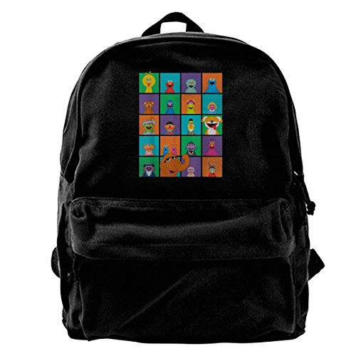 Yuanmeiju Fashion Canvas Backpack Sesame Street Character Squares Girls Boys Backpacks Canvas Book Bags