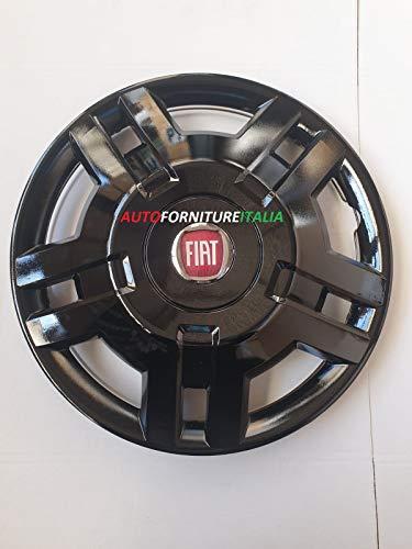 AUTOFORNITURE ITALIA Juego de 4 tapacubos de 15 mm de diámetro, color negro, con logotipo rojo para Ducato 2006