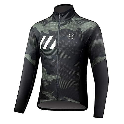 CATENA Herren Winter Fahrradjacke Winddichtes Softshell Thermal Fleece Fahrradtrikot für Outdoor, Radfahren und Laufen