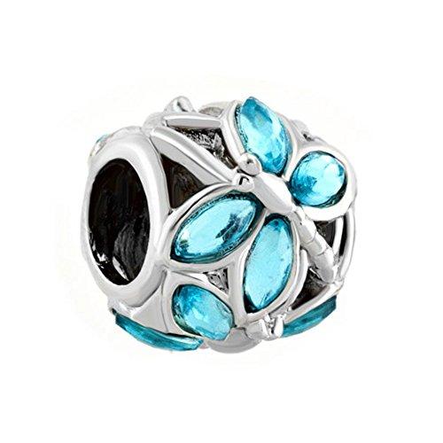 Fit Pandora Charms - Ciondolo a forma di perla con disegno a libellula, con elementi in cristallo Swarovski a formarne le ali, adatto per braccialetti Pandora, colore: azzurro
