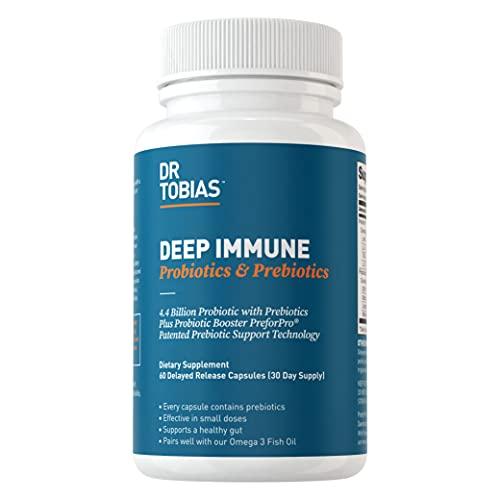 Dr. Tobias Deep Immune Probiotics & Prebiotics, 4.4 Billion CFU, Supports Healthy Gut, 60 Capsules, (2 Daily)