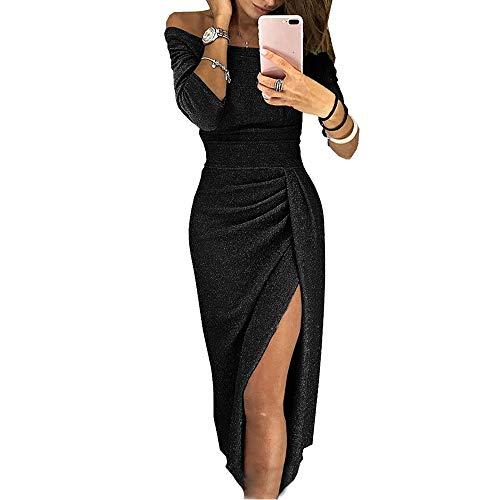 Mujer Vestido de Noche Falda Fuera de Hombro Cintura Alta 3/4 Mangas Falda Abierta Fiesta Vestido Moda Lentejuelas Vestido Size S-XXXL (Negro, L)
