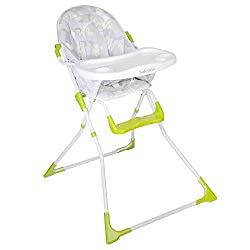 Feeding tray folds behind highchair Five point harness Height adjustable footrest Folds away easily Feeding tray with two cup holders
