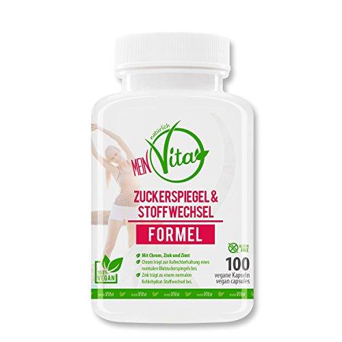 MeinVita Zuckerspiegel & Stoffwechsel Formel -hochdosiert - Chrom - Zink - Zimt - 100% vegane Kapseln, 100 Stück (81 g)