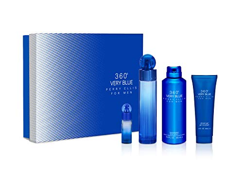 Set 360° Very Blue 4Pzs 100 ml Edt Spray + Shower Gel 90 ml + Desodorante 200 ml Spray + 7.5 ml Edt Spray de Perry Ellis