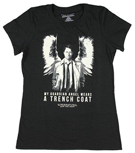 Laugh Dusk Supernatural Castiel Guardian Angel Girls T-Shirt Small