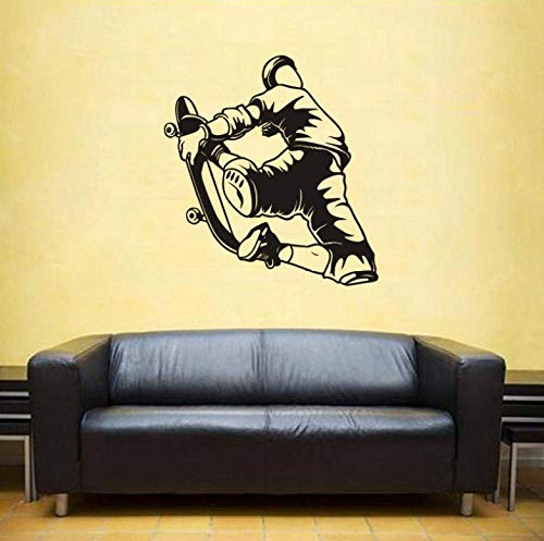 Wandaufkleber Wandbilder 45X48 Cm Skateboarding Wandaufkleber Aufkleber Skifahren Poster Vinyl Wandtattoos Dekor Wandbild Skating Auto Aufkleber Aufkleber