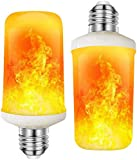 Luminea Feuerlampe: 2er-Set LED-Lampen mit Flammeneffekt, 3 Beleuchtungs-Modi, E27, 2 W (Flammen LED)