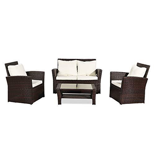 BangShou Juego de muebles de ratán para jardín, patio, ratán, con mesa de café de cristal para exteriores, juego de conversación de patio con cojín, marrón