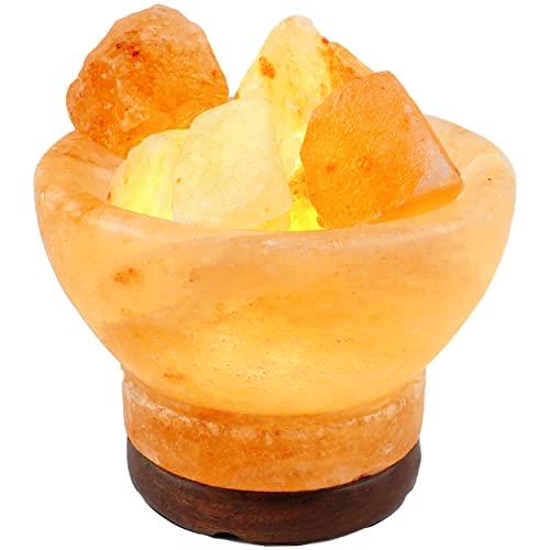 Lámpara de Sal del Himalaya Natural Cuenco B 14 x 13cm + 1 Bombilla de Led de Repuesto Enchufe Europeo