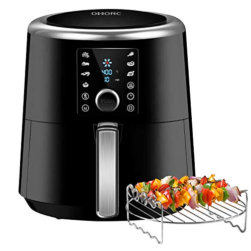 Air Fryer, 6 Quart XXL 1800W Fast Hot Air Fryers & Oilless Cooker w/Presets, LED Touchscreen (for Wet Finger)Grill/Roast/Bake/Keep Warm Suitable for Dishwasher Nonstick (Come with COOKBOOK)