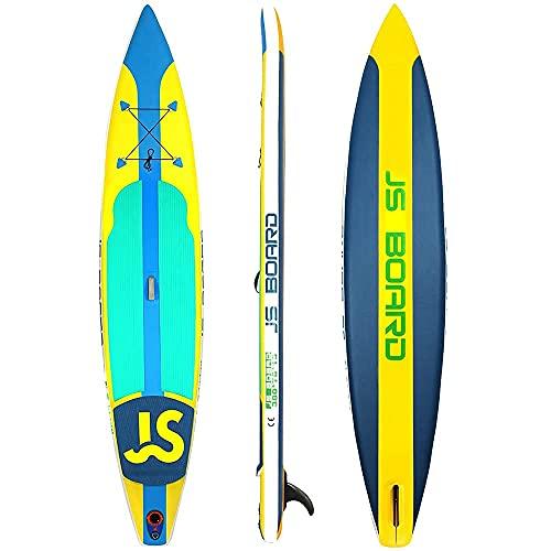 ROSG Tabla de Surf Inflable Stand-Up Paddle Board, Tabla de Remo de Carreras de Doble Capa, el Kit se Puede almacenar cómodamente, Adecuado para Principiantes Adultos, Paleta, Bomba de Aire