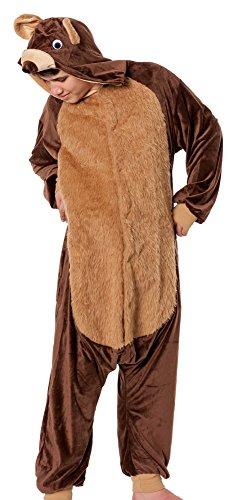 R-Dessous Bären Kostüm Herren Teddy Bär Tier Jumpsuits Overall Bärenkostüm Verkleidung Karneval Halloween, Braun, Herstellergroesse S/M (46-48-50-52)