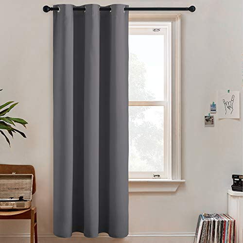 RYB HOME Grey Curtains Room Divider Screen 100% Privacy Wall Divider Curtains for High Ceiling Window Patio Sliding Door Living Room Basement Home Theatre, 1 Panel, Gray, W 60 x L 96 inches