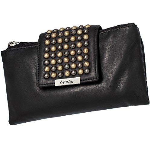 Cadenis Vintage Damen Geldbörse Geldbeutel Leder mit persönlicher Laser-Gravur schwarz Querformat 17,5 x 10 cm