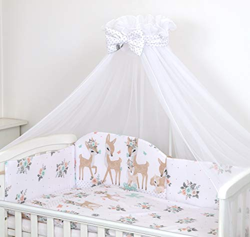 Pro Cosmo 10 Piezas Juego de Ropa de Cama para Cuna bebé/Edredón, Dosel, Protector (120x60cm, Deers Corzos Blancos)