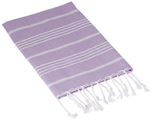 Bersuse 100% Katoen - Anatolia Turkse Handdoek - Hoofd Haar Gezicht Baby - Keuken- en Badhanddoeken - OEKO-TEX - 60 x 110 cm, Lila