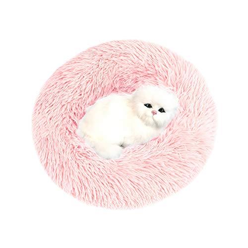 Sunnykud Deluxe Haustierbett Rundes Plüsch Bett für Haustiere in Doughnut-Form Hundebett Katzenbett Flauschig Weich Hundekissen Hundesofa Wasserfeste Unterseite Katzensofa