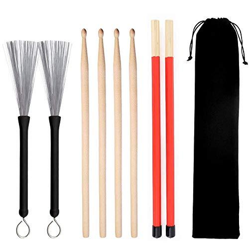 Bestine Ensemble de baguettes de batterie – 1 paire de baguettes en bois d'érable 5A, 1 paire de brosses métalliques rétractables et musique folk jazz 2 paires de baguettes.