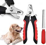DAOXU Tijeras profesional - Alicate cortauñas para perro y gato Lima de Uñas - para Cuidado de las uñas de las pequeñas, medianas y grandes perros, gatos, conejos, pájaros (Rojo)