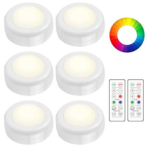 Paquete de 6 luces LED con 2 mandos a distancia, 16 colores inalámbricos, regulables para debajo del gabinete, funciona con pilas que cambian de color para armario de cocina