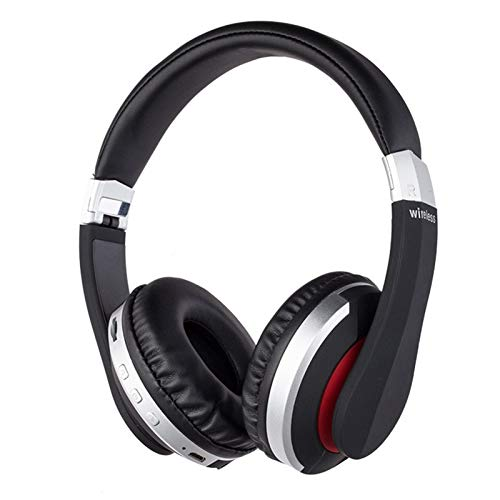 TSAUTOP Newest Wireless Headphones Bluetooth Headset Foldable Stereo Gaming Earphones With Microphone Support TF Card For IPad Mobile Phone (Color : Silver)