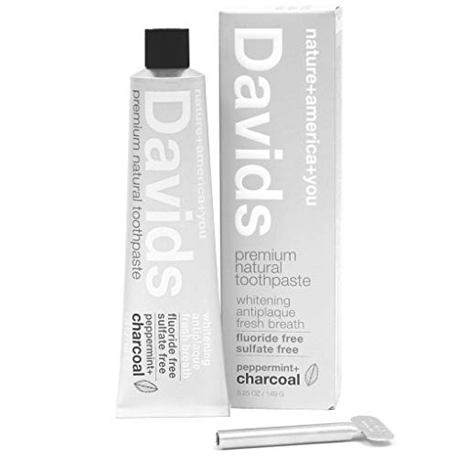 Davids Natural Charcoal Toothpaste, Peppermint, Whitening, Antiplaque, Fluoride Free, SLS Free, 5.25 OZ, Metal Tube, Tube Roller Included