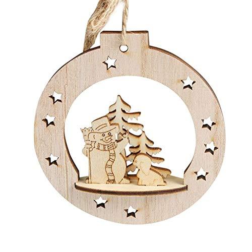 GDYX Decoración navideña Nuevo Copo de Nieve de Madera 2019 Adornado rústico Feliz árbol de Navidad Colgante, Adorno de NavidadA