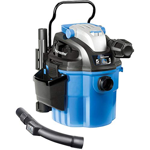 "Vacmaster Mountable Wet/Dry Garage Vac with Remote Control, 5 Gallon, 5 HP 1-7/8"" Hose Wall Mount (VWM510), Blue"