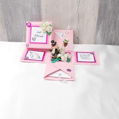 Explosionsbox Hochzeit, Explosionsbox, Hochzeitsgeschenk, Geldgeschenk Hochzeit, Geldgeschenk, rosa pink 2