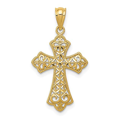 14k Yellow Gold Filigree Cross Religious Pendant Charm Necklace Fleur De Lis Fine Jewelry For Women Mothers Day Gifts For Her