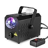 Deckey Máquina de niebla mini con luz LED multicolor, luz de discoteca, 500 W, para niños, Halloween, actuaciones escénicas, Navidad, con mando a distancia, 2 tipos: con cable e inalámbrico