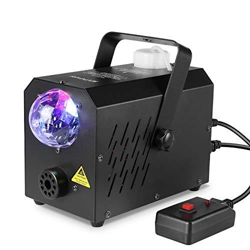 Deckey - Mini macchina del fumo con luce LED colorata a discoteca, 500 W, per bambini, Halloween, palcoscenico, Natale, con telecomando, 2 tipi: cablata e senza fili
