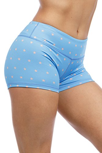 """Premium Woman's 3"""" Inseam Compression Booty Shorts for Yoga, Running, Volleyball, and Crossfit Athletes (Small, Blue Stars)"""