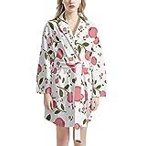 Pijamas de Las señoras, Ropa de Dormir de Las Mujeres Suaves y cálidas túnicas de Dormir Ropa de Dormir con Cuello en V de la Bata de baño con 2 Bolsillos,One Size