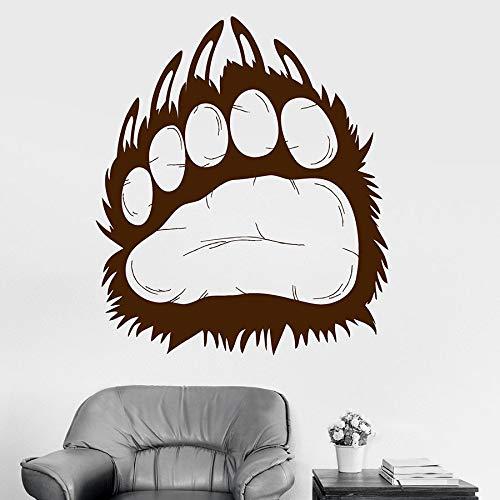 HGFDHG Calcomanías de Pared Oso Grizzly Animal Predator Paw Footprint Vinilo Etiqueta de la Ventana Cool Boy Dormitorio Hombre Cueva decoración para el hogar