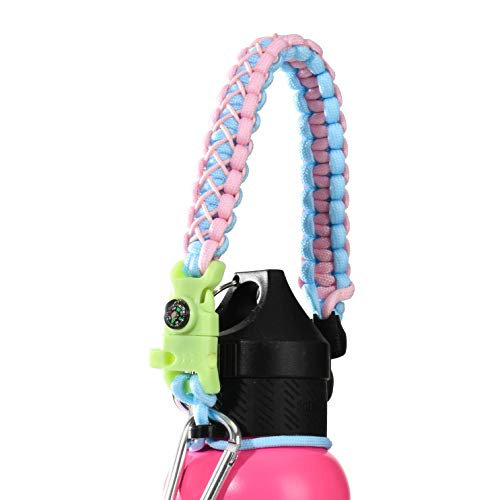 QeeLink Paracord Hande Compatible with Hydro Flask Standard Mouth Water Bottle Carrier with Safety Ring Holder | Simple Modern Ascent Water Bottle Strap - 12 oz, 18oz, 21 oz, 24 oz (Glow Pink)