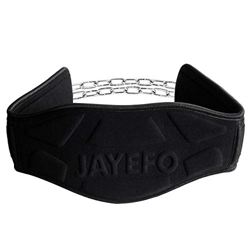 "Jayefo Premium Dip Belt with Steel Chain 36"" Weighted Dips Pull Ups Weightlifting Bodybuilding Crossfit Triceps Blaster Waist Dipping Belt One Size Fits All"