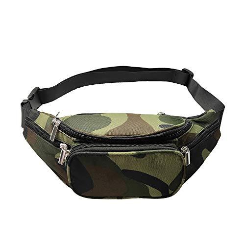 Camo Fanny Pack, 5 Pockets Fanny Pack for Men Women Adjustable Belt Large Capacity Camouflage Waist Bag Packs Travel Chest Shoulder Bag Phone Running Hiking Belt Bag (Camouflage)