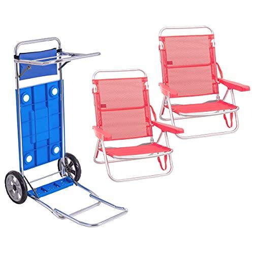 Pack de 2 sillas de Playa Coral de Aluminio y textileno y Carro portasillas Doble Despliegue - LOLAhome