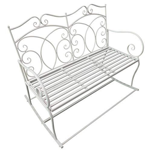 Outsunny Panchina a Dondolo Biposto da Giardino Stile Shabby in Ferro 102 x 74.5 x 78cm, Bianco