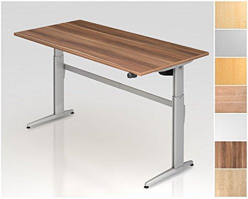 Elektrisch höhenverstellbarer Schreibtisch, Rechteckform, Arbeitshöhe 720-1190 mm, Designer Aluminium C-Fuß-Kufen, Tischplatte - Dekor:Eiche;Größe:1800 x 800 mm
