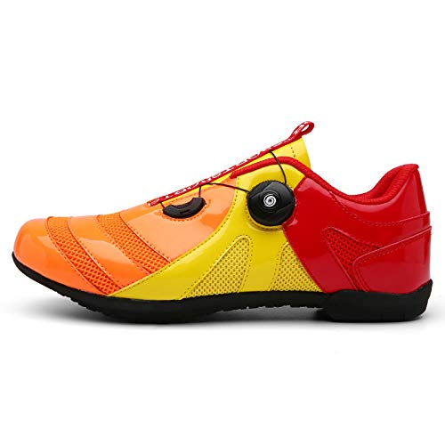 AGYE Zapatos de Ciclismo Hombres,Calzado de Bicicleta Transpirable Antideslizante,Calzado Deportivo Asistido para Carreras de Equitación en Interiores,Yellow-EU45