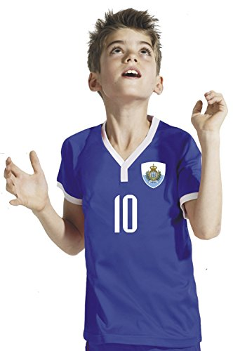 Aprom-Sports San Marino Kinder Trikot - Hose Stutzen inkl. Druck Wunschname + Nr. BBB WM 2018 (140)