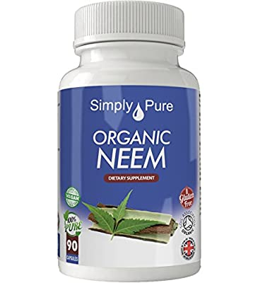 New - Exclusive to Amazon - Simply Pure - 90 Organic Neem Capsules - High Strength (500mg) - 100% Natural - Gluten Free - Vegan - Moneyback Guarantee from Simply Pure Ltd